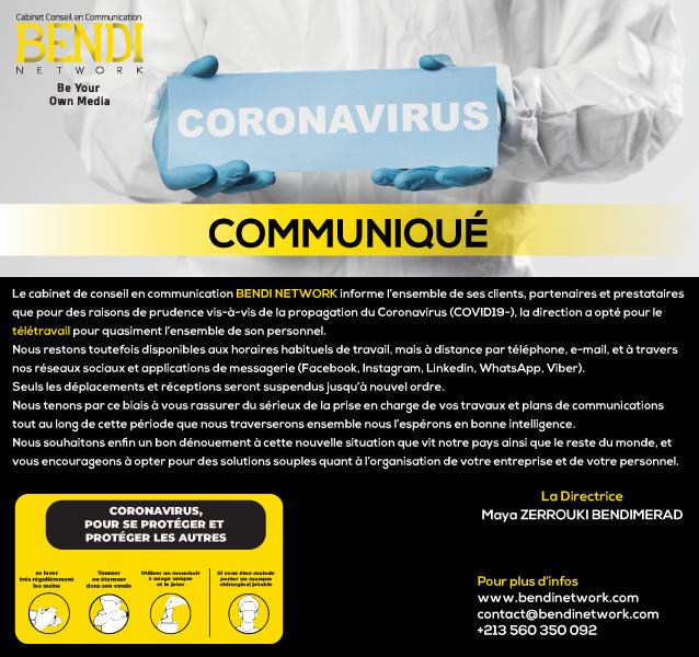communique Covid 19 bendinetwork 2020